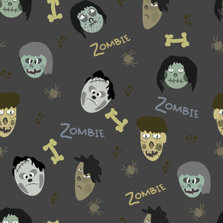 attern of images of zombies and various elements on a gray background Ilustração