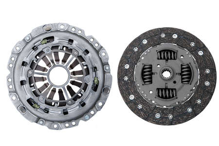car basket and clutch disc on white background