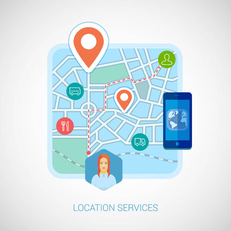 Flat design illustration concepts for location services, maps and navigation Vector