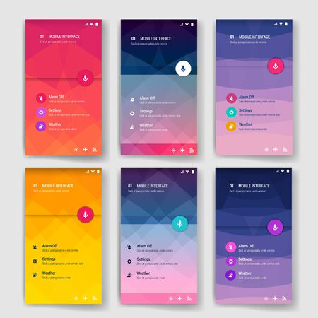interface design: Modern flat user interface screen template for mobile smart phone or web site. Transparent blurred material design ui with icons.
