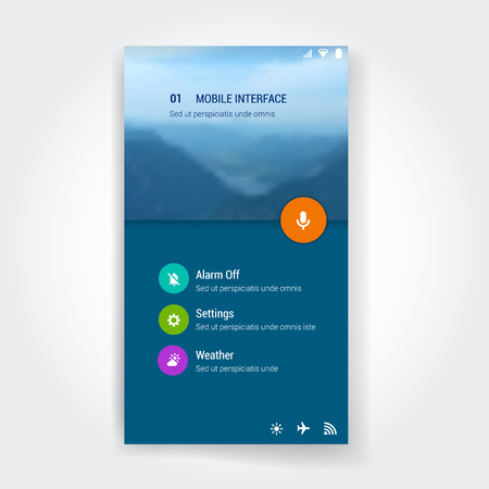 web site: Modern flat user interface screen template for mobile smart phone or web site. Transparent blurred material design UI with icons.