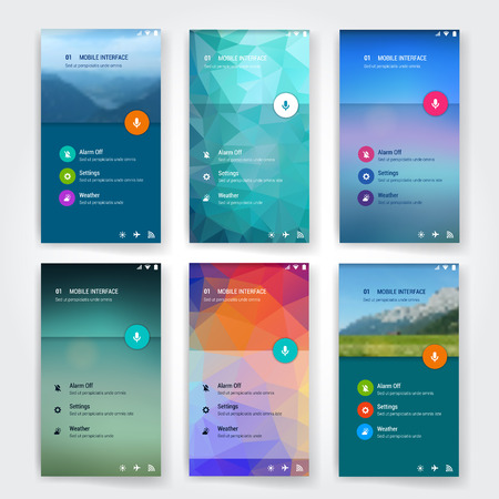 mobile website design: Modern flat user interface screen template for mobile smart phone or web site. Transparent blurred material design UI with icons.