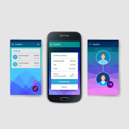 site: Modern flat user interface screen template for mobile smart phone or web site. Transparent blurred material design ui with icons.