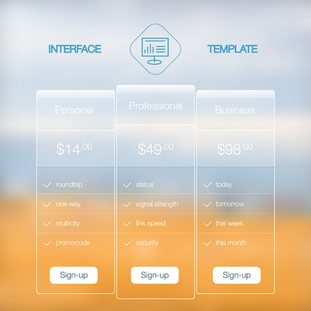 web site design template: Modern flat user interface screen template for mobile smart phone or web site. Transparent blurred material design ui with icons.