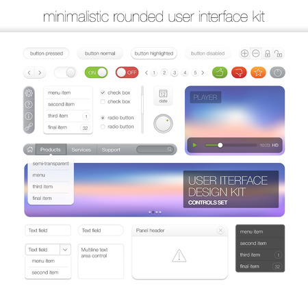 Modern flat user interface screen template kit for mobile smart phone or web site. Transparent blurred material design ui with icons.