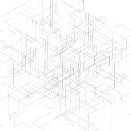 抽象的な等尺性コンピューター生成 3 D 設計可視化ライン背景です。技術で突破のベクトル図です。