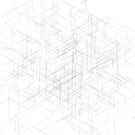 počítačem generované: Abstract isometric computer generated 3D blueprint visualization lines background. Vector illustration for break through in technology. Ilustrace