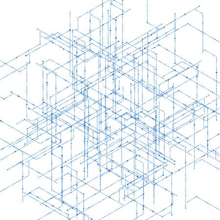 break in: 3D l�neas Fondo del modelo de visualizaci�n en ordenador isom�trica abstracta. Ilustraci�n del vector para romper a trav�s de la tecnolog�a.