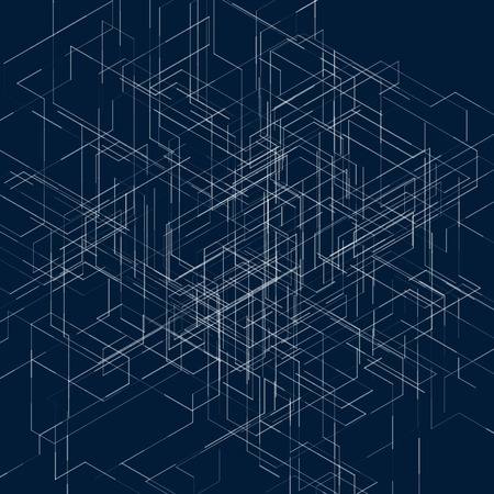 Abstract isometric computer generated 3D blueprint visualization lines background. Vector illustration for break through in technology. Vettoriali