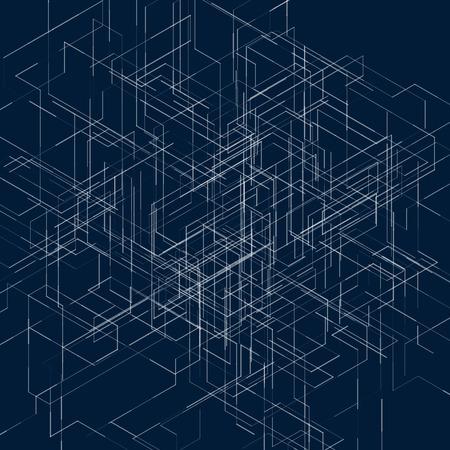 Abstracte isometrische computer gegenereerde 3D-visualisatie blauwdruk lijnen achtergrond. Vector illustratie voor doorbraak in de technologie. Stock Illustratie
