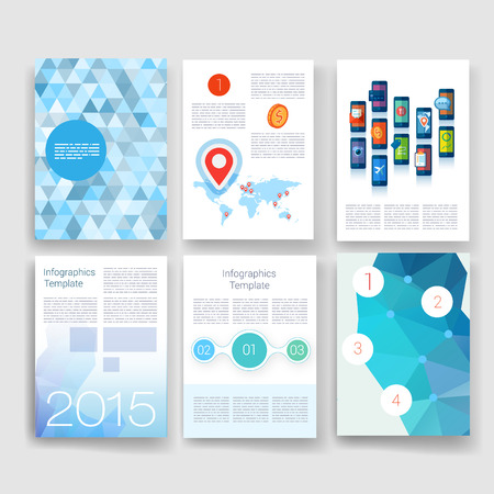 front page: Templates. Design Set of Web, Mail, Brochures. Mobile, Technology, and Infographic Concept. Modern flat and line icons. App UI interface mockup. Web ux design.