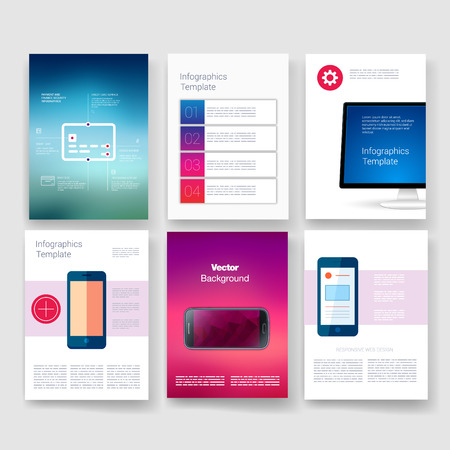 graphic elements: Templates. Design Set of Web, Mail, Brochures. Mobile, Technology, and Infographic Concept. Modern flat and line icons. App UI interface mockup. Web ux design.