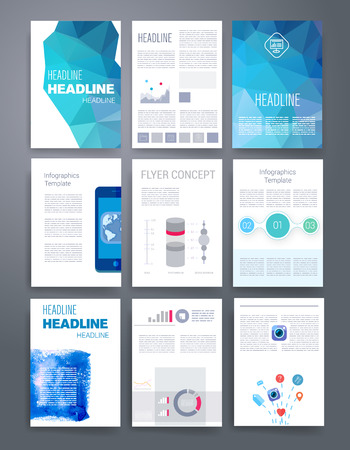 magazine: Templates. Vector flyer, brochure, magazine cover template can use for print and marketing. Applications and Infographic Concept. Modern flat design icons for mobile or smartphone. Illustration