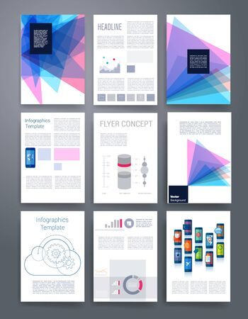 print template: Templates. Vector flyer, brochure, magazine cover template can use for print and marketing. Applications and Infographic Concept. Modern flat design icons for mobile or smartphone. Illustration