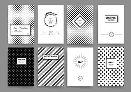Set of Trendy Posters with hand drawn Background. Modern Hipster Style for Invitation, Business Contemporary Design. Hand Drawn Elements for Placards, Flyer Vettoriali