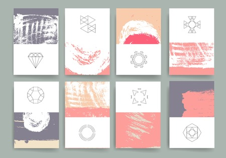 Set of Trendy Posters with hand drawn Background. Modern Hipster Style for Invitation, Business Contemporary Design. Hand Drawn Elements for Placards, Flyer Ilustracja
