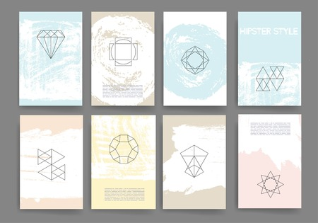 Set of Trendy Posters with hand drawn Background. Modern Hipster Style for Invitation, Business Contemporary Design. Hand Drawn Elements for Placards, Flyer Illustration