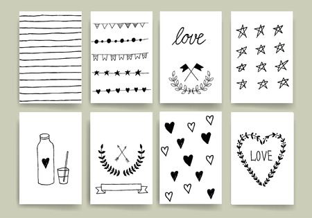 contemporary design: Set of Trendy Posters with hand drawn Background. Modern Hipster Style for Invitation, Business Contemporary Design. Hand Drawn Elements for Placards, Flyer Illustration