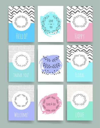 woman sketch: Set of Trendy Posters with hand drawn Background. Modern Hipster Style for Invitation, Business Contemporary Design. Hand Drawn Elements for Placards, Flyer Illustration