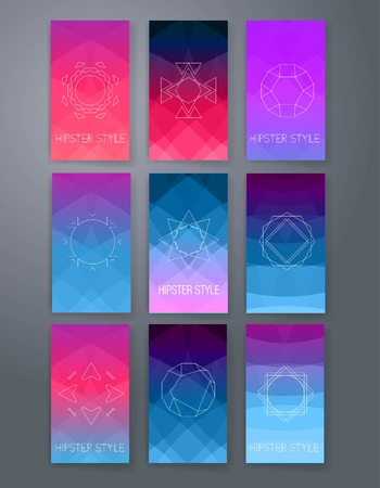 abstract doodle: Set of Trendy Posters with hand drawn Background. Modern Hipster Style for Invitation, Business Contemporary Design. Hand Drawn Elements for Placards, Flyer Illustration