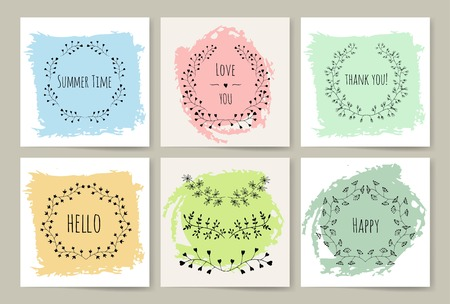 Swirls, laurels, frames, leaves, banners and curls. Laurels. Wedding templates set with floral ornate elements badges set