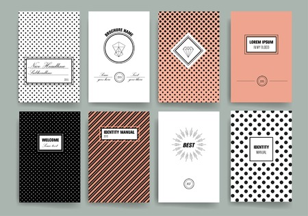 geometric lines: Vector line logos and icons. Line design elements for invitations and greeting cards. Vector emblems and badges. Abstract hipster logo templates. Illustration