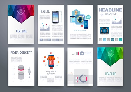flyer template: Templates. Design Set of Web, Mail, Brochures. Mobile, Technology, and Infographic Concept. Modern flat and line icons. App UI interface mockup. Web ux design.