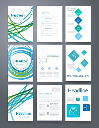 business book: Templates. Design Set of Web, Mail, Brochures. Mobile, Technology, and Infographic Concept. Modern flat and line icons. App UI interface mockup. Web ux design.