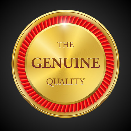 gold metal: Set of round polished gold metal badges on white background. Best Seller. The Best Quality. Premium quality guaranteed. The Genuine Quality. Vector illustration.