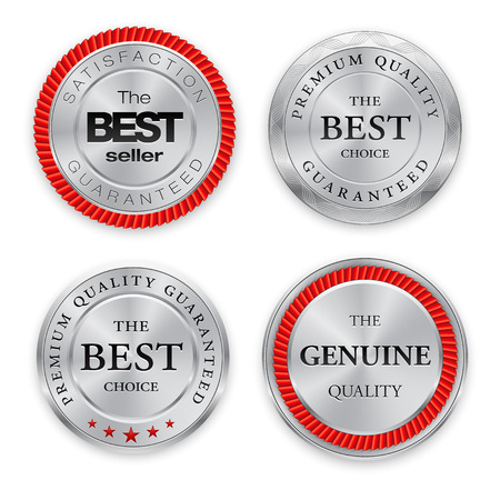 guarantee: Set of round polished gold metal badges on white background. Best Seller. The Best Quality. Premium quality guaranteed. The Genuine Quality. Vector illustration.