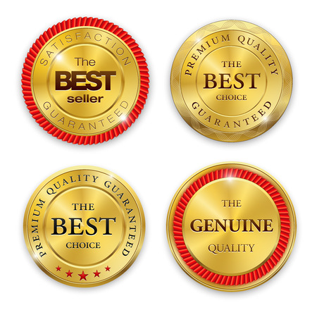 白い背景の上のラウンド洗練されたゴールド金属バッジのセットです。ベストセラー。最高の品質。プレミアム品質保証します。本物の品質。ベク