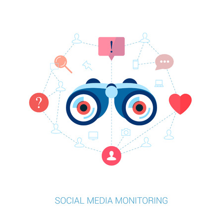 brand monitoring: Set of modern flat design icons on the topic of corporate brand monitoring and social media marketing. Social graph and connection in web vector illustration. Web advertising modern apps icons.