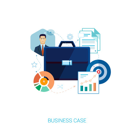 analytic: Business case set of flat icons vector illustration. Black leather case in documents, analytic charts and business man in suit.