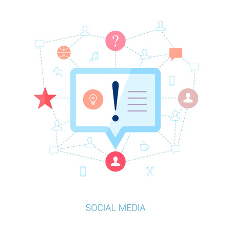 news update: Set of modern flat design icons on the topic of social network personal update. User generated news and short messaging vector illustration. Isolated over white background. Illustration