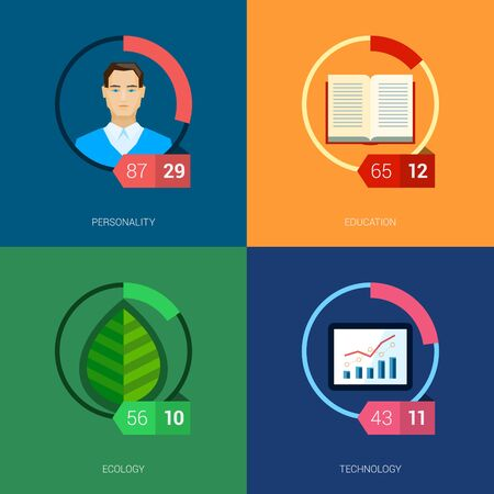 sector: Flat icon infographic template set for education, statistic, person, ui, ecology and environment. Part to whole ratio sector pie chart illustration.
