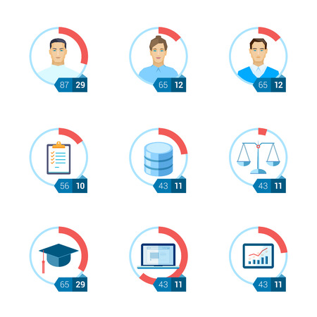 tasks: Flat icon infographic template set for education, statistic, personal, environment, law, ui, interface justice, computing, start-up, tasks, database. Part to whole ratio sector pie chart illustration.