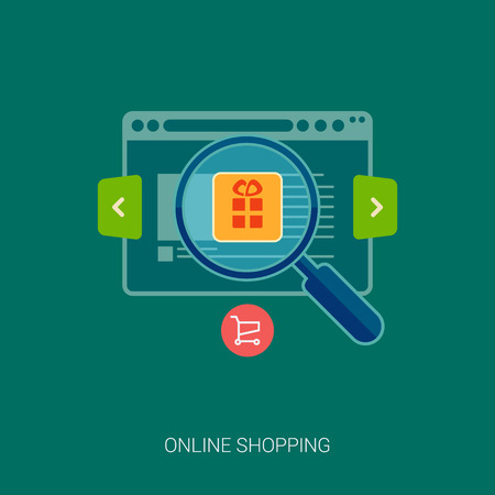 browse: Set of flat design concept icons for online shopping. Icons for online shop, add to bag, browse goods, products in web shop. Search online shop.