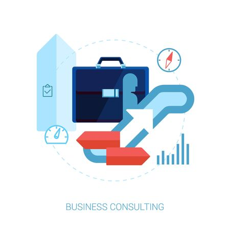 aide: Consulting, career, business performance, direction flat icons vector illustration. Illustration
