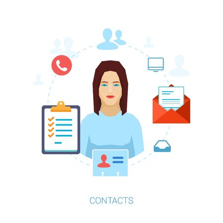 delegation: Contacts managements, address book, task delegation, phone numbers and email addresses flat icons vector illustration. Illustration