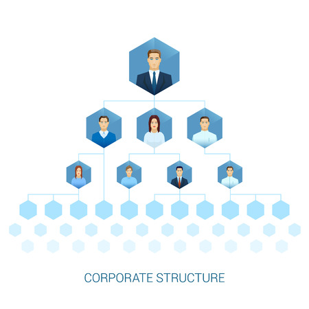 inter: Corporate management structure hierarchy vector illustration. Human faces flat icons with sharp edges style. Honeycombs sells inter connected template for web site or brochure.