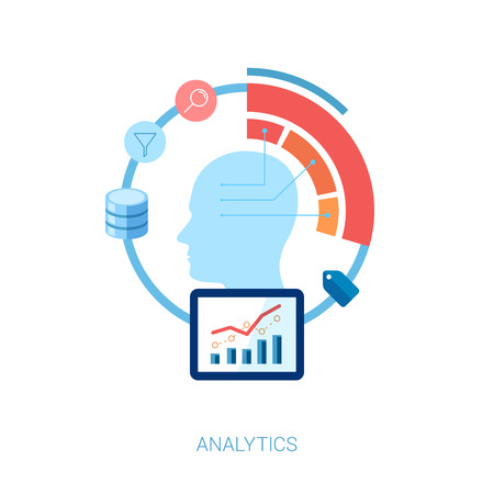 Flat design icons analytic. Internet advertising, business development, marketing research, consulting, big data and database concepts. Web mobile services vector illustration. Human head.
