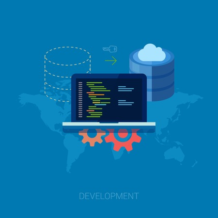 sistemas: Conjunto de iconos del diseño moderno planas para el desarrollo de aplicaciones o la programación de aplicaciones de software. Web, bases de datos, desarrollo de software. Vectores