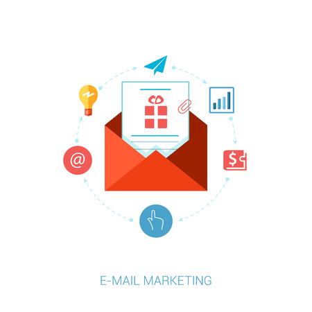이메일 마케팅 및 뉴스 레터 광고에 대한 현대적인 평면 디자인 아이콘의 집합입니다. 주소, 지갑, 분석, 점에서, 아이디어 메시지 마케팅, 클릭하고 탭 일러스트