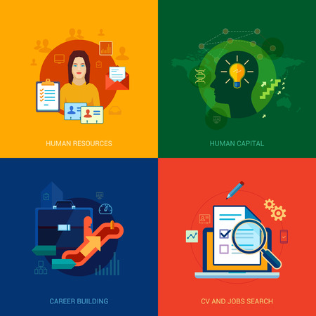Flat icons set for human resources, personal, career building, CV, job search, vacancy, interview, hire or contract positions.