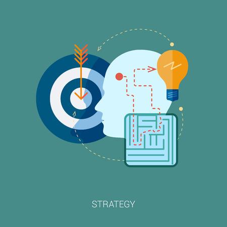 Platte design iconen voor internet reclame web development, internet marketing strategie, consulting en grafische vormgeving. Concept pictogrammen voor web en mobiele diensten vector illustratie. Menselijk hoofd profiel.