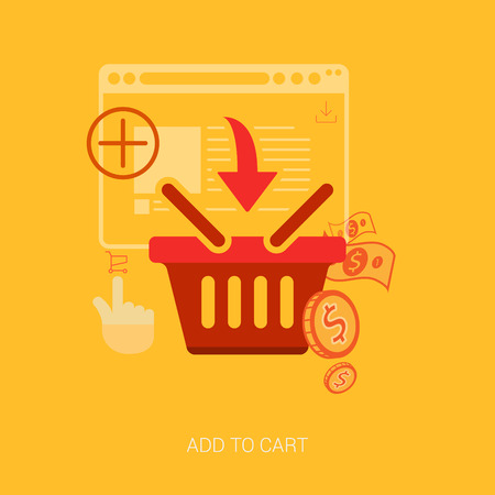 endurance run: Flat design icons for online shopping. Add to basket, bag or cart e-commerce vector illustration concept.