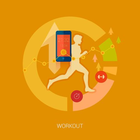 smartphone icon: Running man vector illustration. Sporting person, workout, training and real time achievement analytic tracking through smartphone apps modern flat design icons concept. Illustration
