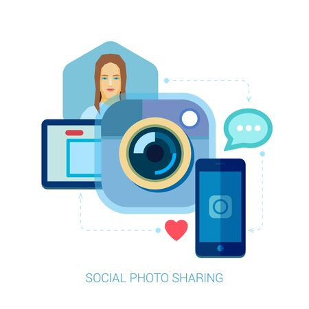 video sharing: Social photo sharing and selfie flat design concept icons for web and mobile phone services and apps. Mobile phone apps for photo and video sharing vector illustration concepts set with a woman.