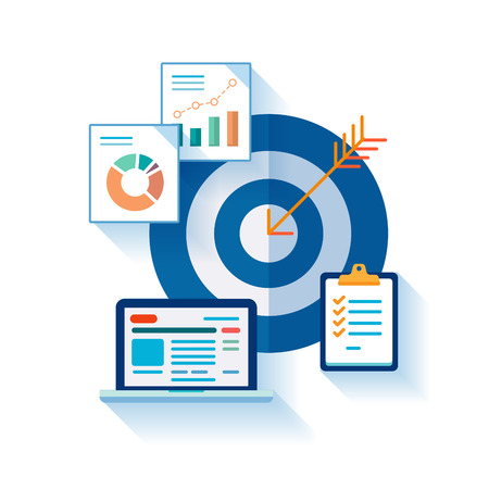 Flat design concept icons for web and mobile phone services and apps. Marketing online analytic and optimization concept symbols. Target, tasks, charts concept illustration.