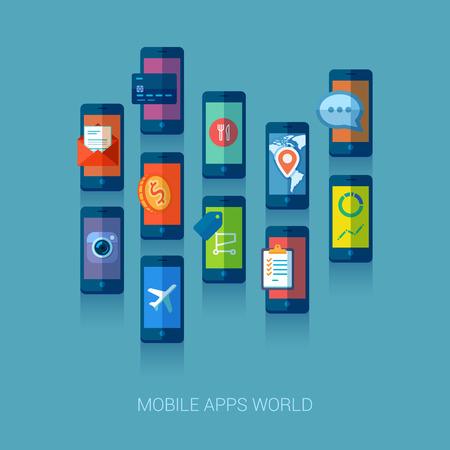 trends: Flat design vector illustration concept. Mobile apps trends icons. Illustration